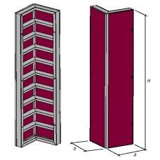Щит угловой внутренний, каркас алюминиевый, профиль Т140мм, В1=300мм, В2=300мм, H=3000мм, пр-во Россия