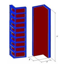Щит угловой наружный, каркас стальной, профиль Т120мм, В1=600мм, В2=600мм, H=3000мм, пр-во Россия
